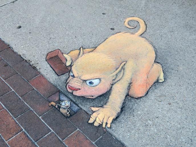 arte de rua 3d david zinn - seu jeca
