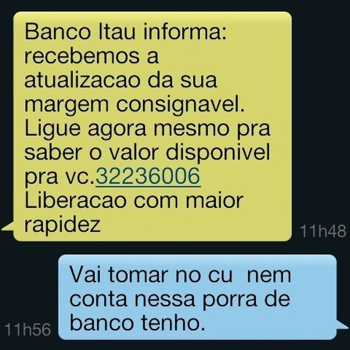 Mensagem do banco para você