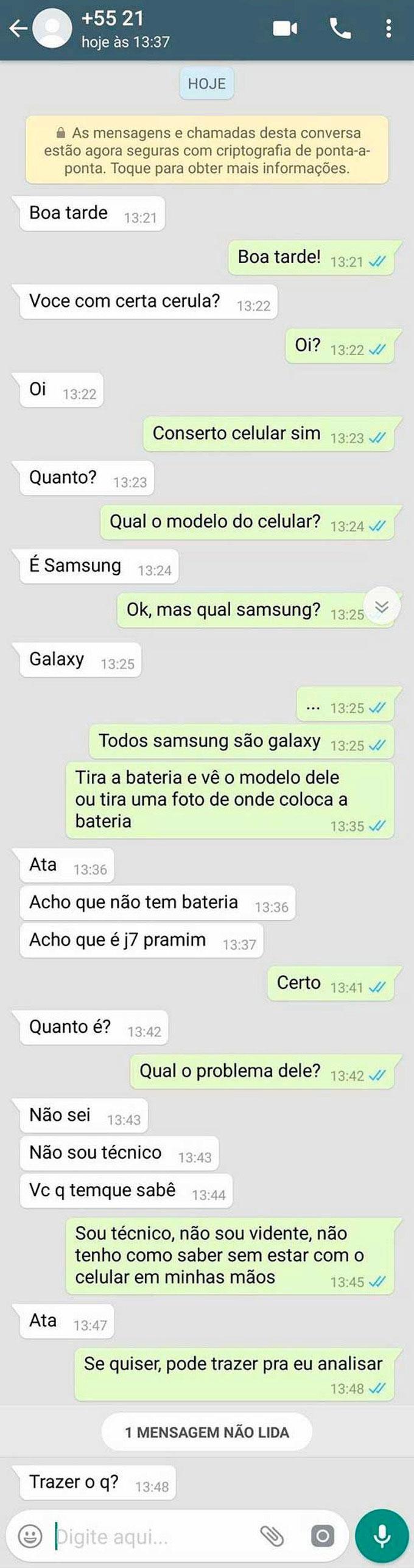 vida de técnico de celular