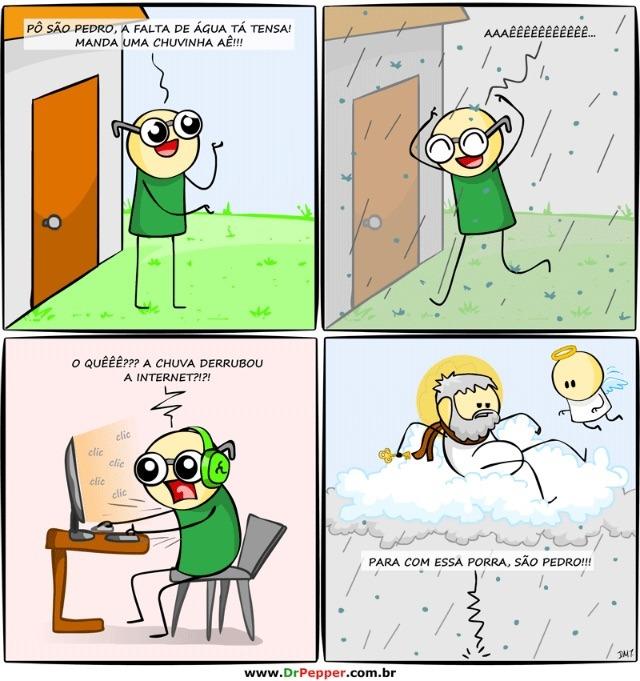 A chuva derrubou a internet