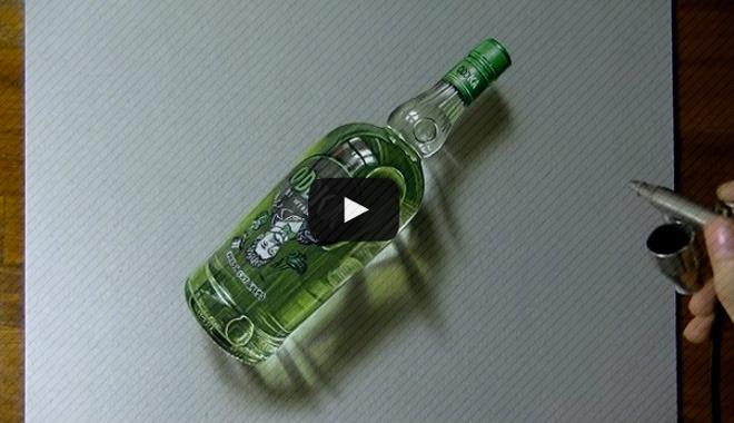 desenho 3d hiper-realista garrafa vodka