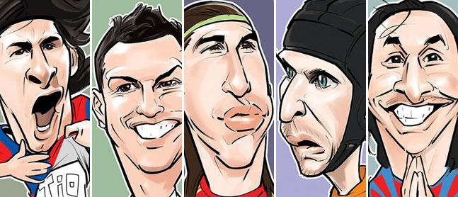 Desenhos de jogadores de futebol famosos