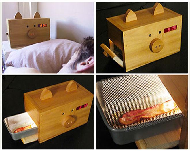 despertador com bacon
