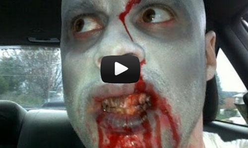 Pegadinha de halloween: motorista zumbi