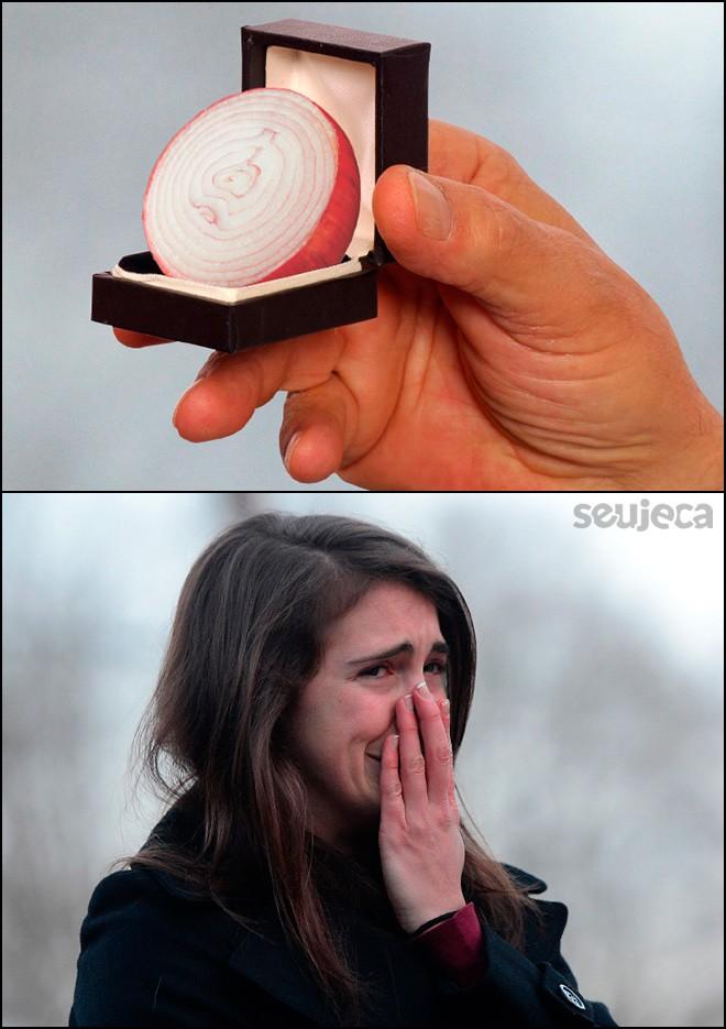 pedido de casamento anel de cebola